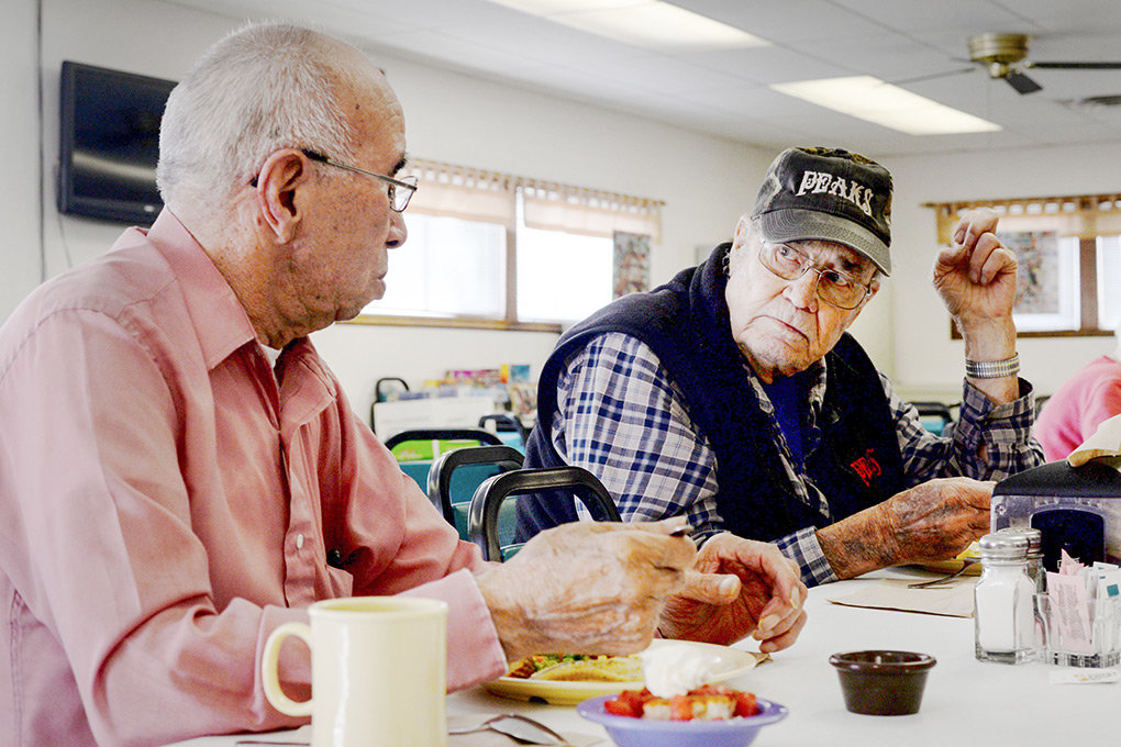 During lunch at the Powell Senior Center last week, Joe Ramirez and Mel McCullough discuss Ramirez's past experiences as an amateur boxer. Senior center leaders are hoping to build a new, expanded facility in the coming years.