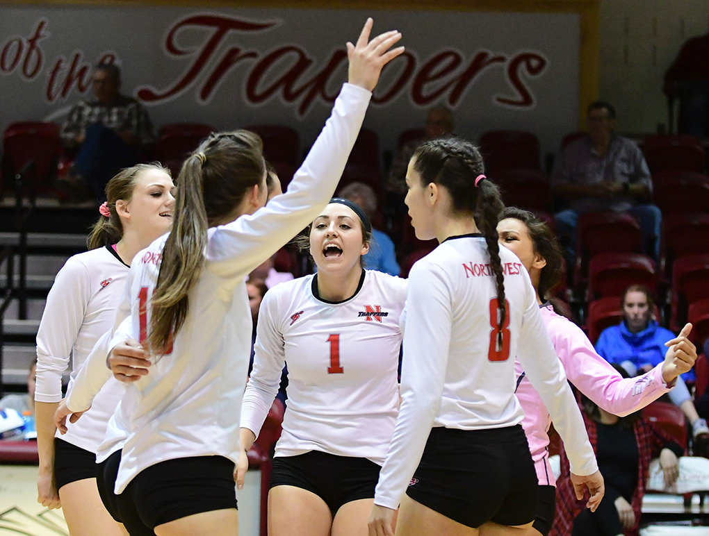 Northwest College sophomore Jess Ruffing, center, celebrates with teammates during a volleyball match last season. Ruffing approached the NWC Board of Trustees earlier this month to voice her concerns about the recent coaching turnover in the athletic department.