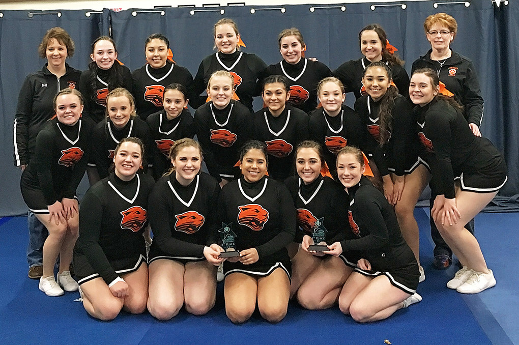 The PHS cheer team is all smiles following a recent competition in Cody. The team is heading to Casper Wednesday to compete in the 3A State Cheer Competition.