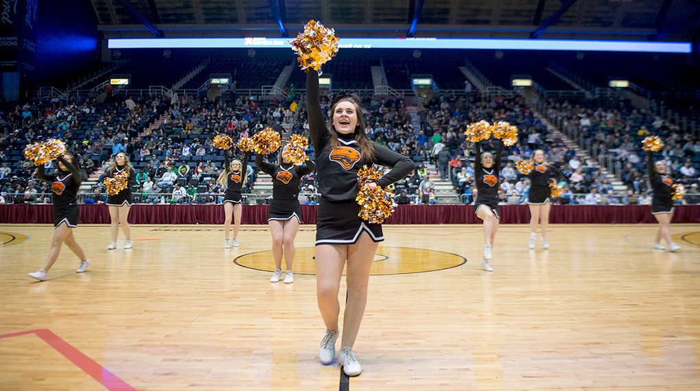 Powell cheerleader Mia Baxter performs front and center during halftime of the 3A state title game Saturday at the Casper Events Center. The Panther cheer team won the state championship in the Game Day Cheer competition at the 3A State Spirit Competition.
