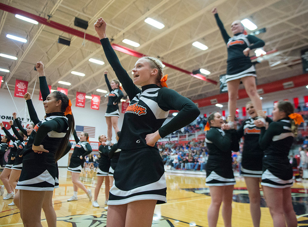 Members of the PHS cheer team perform during a timeout of Friday's Class 3A semifinal game between the Lady Panthers and Lyman at Casper College. The cheerleaders won the state championship in the Game Day Cheer competition on Wednesday at the Casper Events Center.