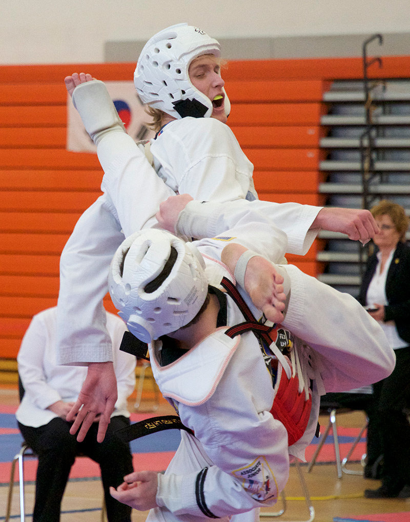 Montana State Taekwondo's Zack Partenheimer competes in the black belt sparring division at the Lone Wolf Taekwondo Championships on March 2.