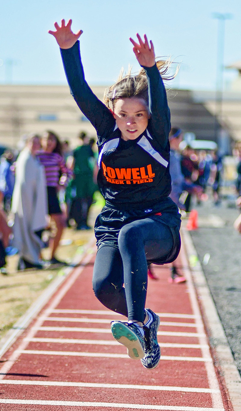 Lady Cub eighth grader Alexis Terry competes in the long jump at the Powell Invitational earlier this month. Terry finished second in the triple jump and eighth in the long jump at last week's Throw Down/Jump Off Meet.