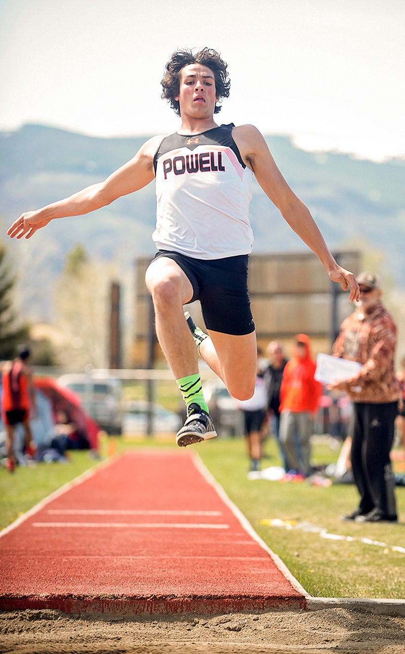 PHS senior Dalton Woodward wins the triple jump Friday at the Cody Trackstravaganza, with a jump of 41 feet, 9.75 inches. The jump also prequalified Woodward for the 2019 State Track and Field Meet in Casper later this month.