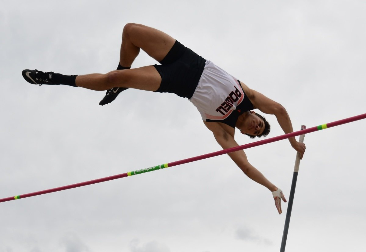 PHS junior Brody Karhu clears 13 feet, 6 inches en route to a second-place finish in the pole vault Saturday at the 3A Track and Field Championships in Casper.