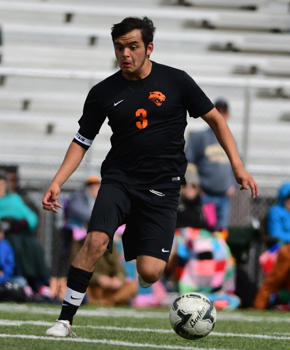 Powell's Ernie Acevedo brings the ball up the pitch Saturday against Worland in the 3A State Championship game in Jackson. The Warriors held off a game Panther squad to win 2-0.