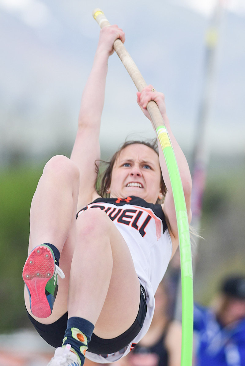 Lady Panther Maddie Hackenberg is all determination as she sets a personal best in the pole vault, clearing a height of 9 feet Friday at the 3A Track and Field Championships in Casper. Hackenberg finished 11th in the event.