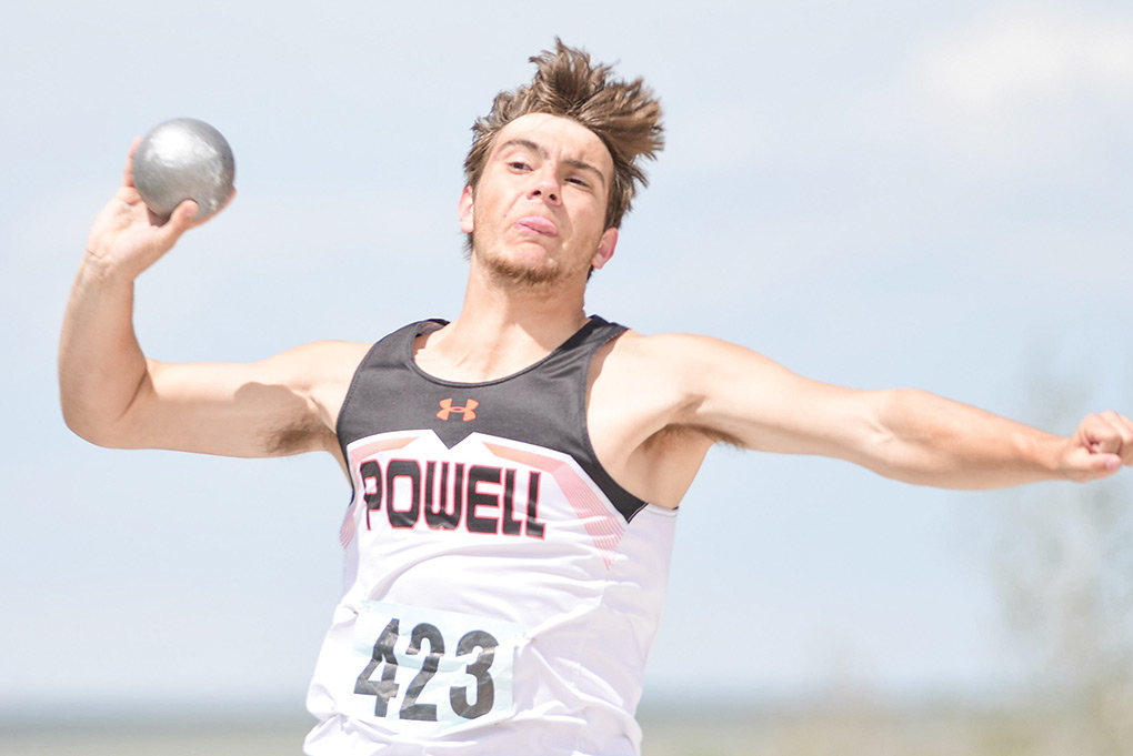 Panther thrower Zeke Frankenberry launches the shot Friday during the 3A Track and Field Championships in Casper. Frankenberry went on to medal in the discus with a throw of 127 feet, 5 inches, placing eighth.