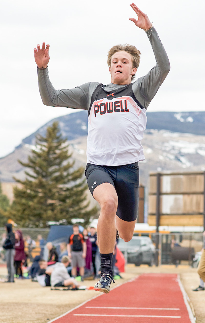 PHS triple jumper Dylan Preator, shown here at a meet in Cody earlier this season, won the state title in the triple jump on Friday at the 3A State Track and Field Championships in Casper. His jump of 44 feet, 5.75 inches set a new school record.