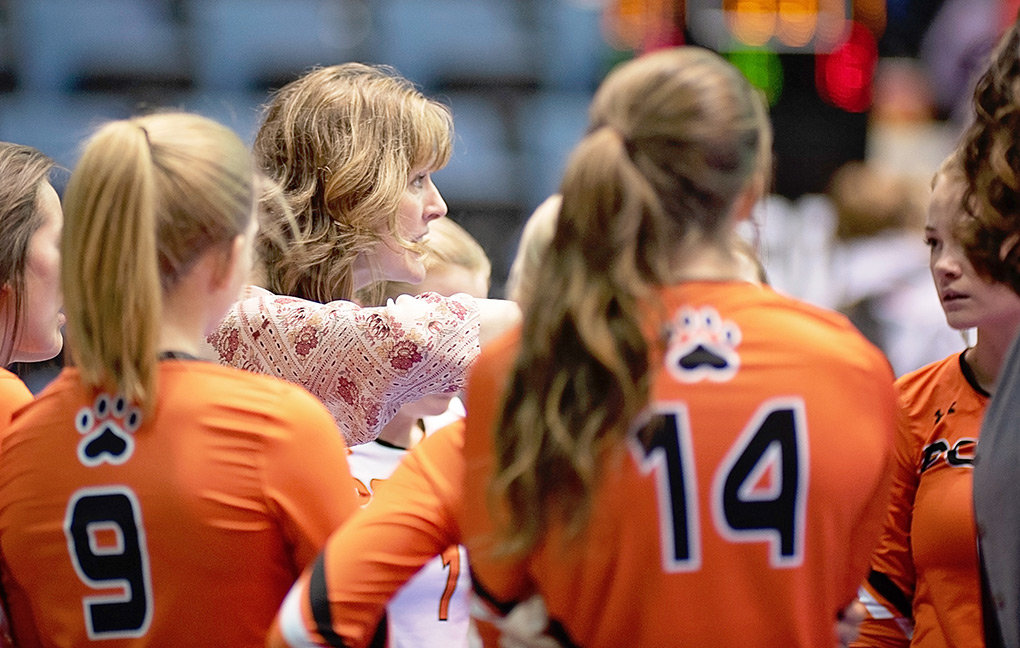 PHS head volleyball coach Randi Bonander discusses strategy with her team during a break in the action last year. Bonander is stepping down as the coach of the Lady Panthers after three seasons at the helm.