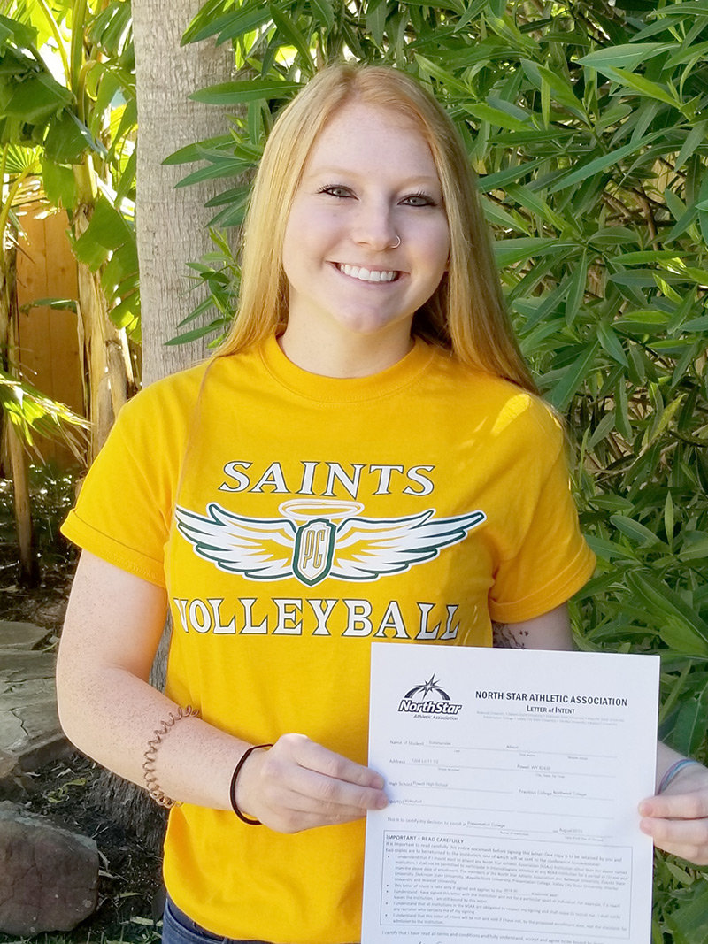 Former PHS volleyball player Alli Sommerville shows off her letter of intent to play for Presentation College in Aberdeen, South Dakota, this fall.