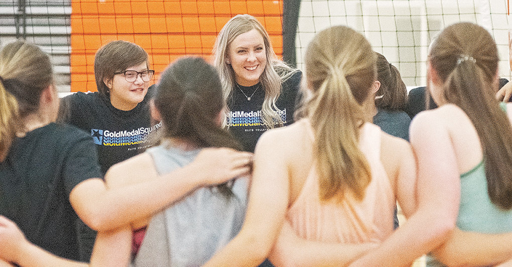 New PHS varsity head volleyball coach Tasha Miller huddles with campers during last week's Gold Medal Squared Volleyball Camp at Panther Gym. Miller, a former standout for the Lady Panthers and the Northwest College Lady Trappers, takes over for Randi Bonander, who stepped down last month.
