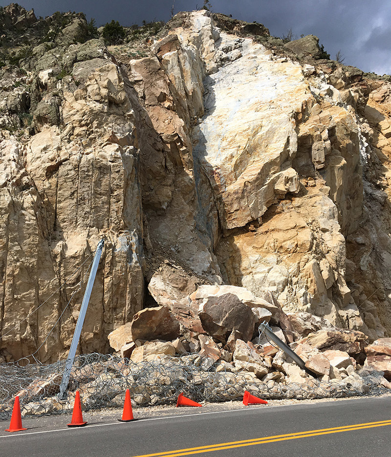 Like a big catcher's mitt, the mesh wire fence 'snagged' sliding rocks off the mountain above U.S. Highway 14/16/20, near Buffalo Bill Dam. WYDOT will repair the fence damaged by the Memorial Day weekend slide.