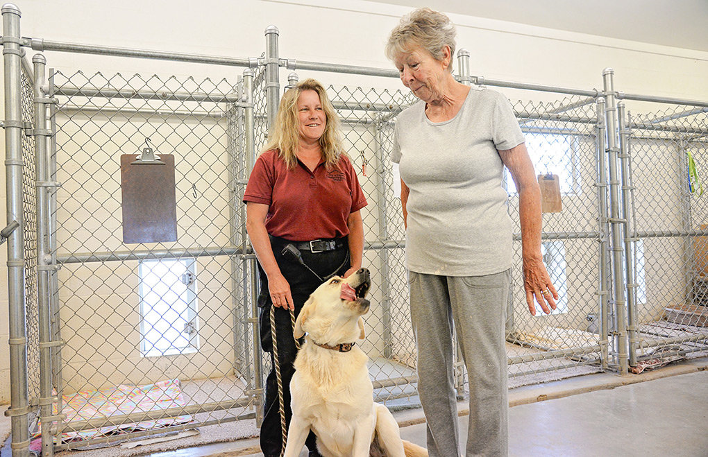 Anna Paris (left) and Caring for Powell Animals President Elfriede Milburn spend some time with Bow at the Powell shelter. The happy dog was recently adopted and will be leaving the shelter soon for his new home.