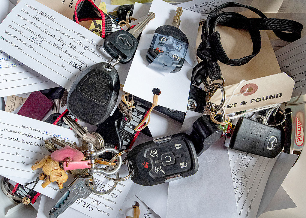 Each year hundreds of sets of keys are lost in Yellowstone National Park. When turned in they join eyeglasses, cellphones and hats as the most found items lost in the park.