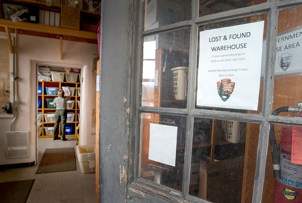 The Yellowstone National Park lost and found warehouse at Mammoth Hot Springs houses thousands of lost items each year.