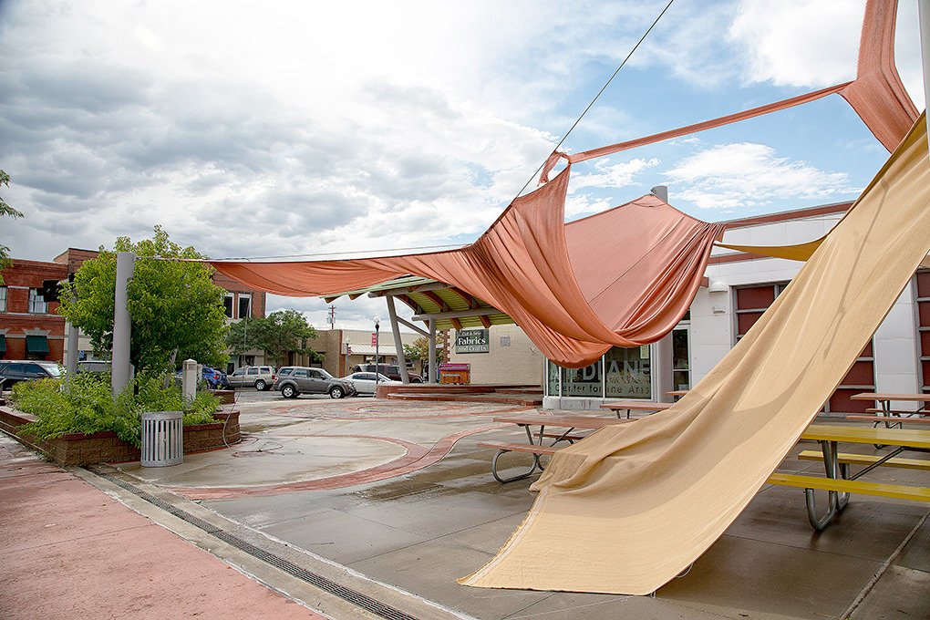 The shade sails at Plaza Diane in downtown Powell were a casualty of Sunday's storm, being destroyed amid the high winds, torrential rain and hail.