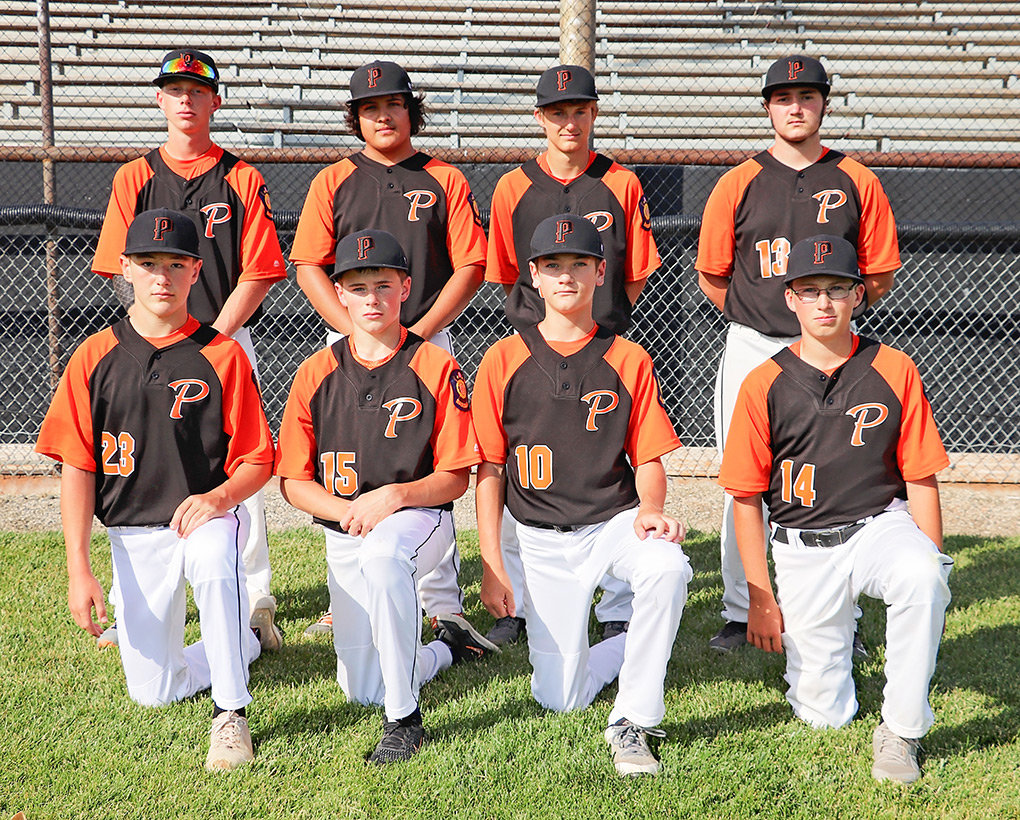 The Powell Legion B baseball team opens the State B Legion Tournament in Sheridan Wednesday against Laramie. Front row: Jhett Schwahn, Brock Johnson, Trey Stenerson and Cade Queen. Back row: Noah Blough, Kolt Flores, Keaton Rowton and Canyon Gonzales.