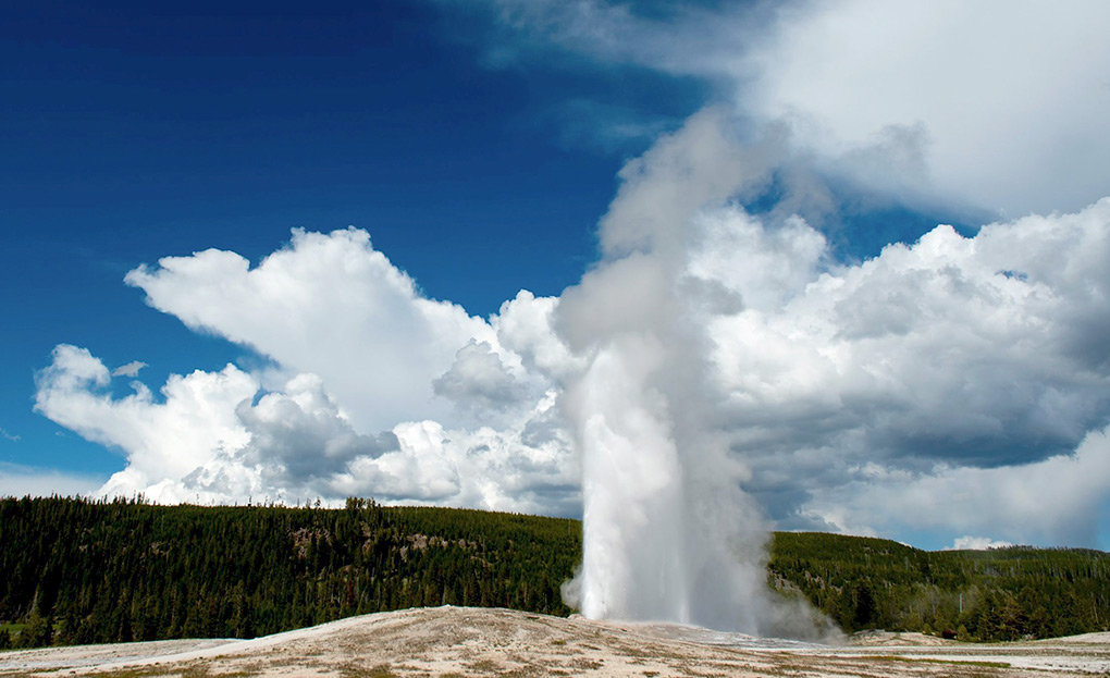 Old Faithful, Yellowstone National Park's most popular attraction, erupts about every 94 minutes. Robert Smith has studied the geyser basin for more than six decades and is considered the leading expert on the geothermal features in the park.