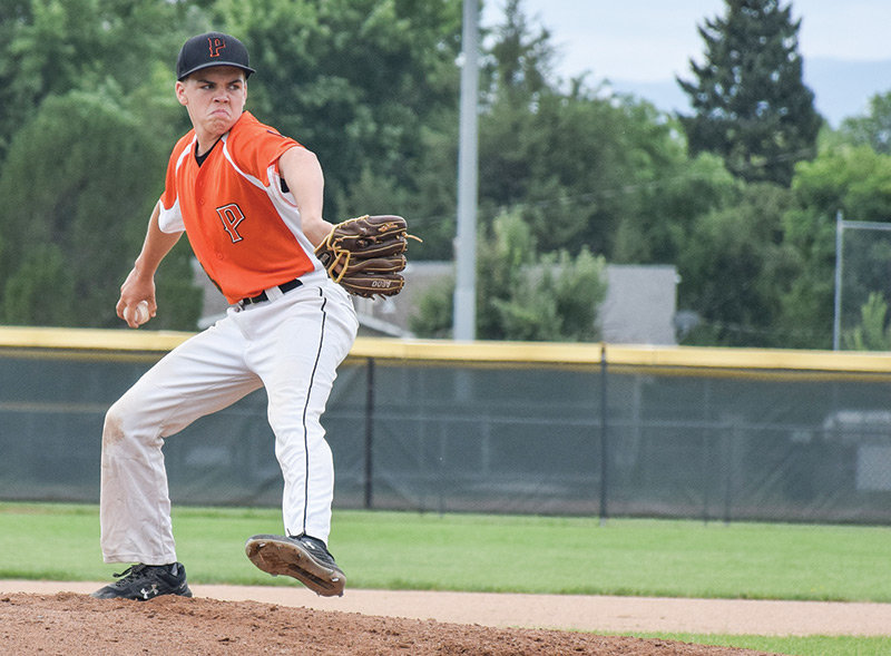Ryan Cordes delivers a pitch for the Powell Pioneers B team during the Wyoming Legion Baseball Class B State Tournament in Sheridan. The Powell team took second place, beating Laramie, Cheyenne and Cody while losing only to the champions from Sheridan.