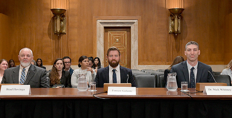 From left, Wyoming Game and Fish Jackson Region Wildlife Supervisor Brad Hovinga, wildlife biologist and Animal Planet host Forest Galante and Nick Whitney, a senior scientist at the New England Aquarium, appear before the U.S. Senate Committee on Environment and Public Works on July 24.