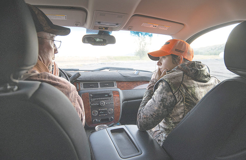 Fred Williams, state director for the First Hunt Foundation, talks with Sarah Hamlin while mentoring her through a white-tailed deer hunt last weekend in the Meeteetse area. Hamlin is a member of the Sisters of the Sage, a group of women looking for further experience in hunting.