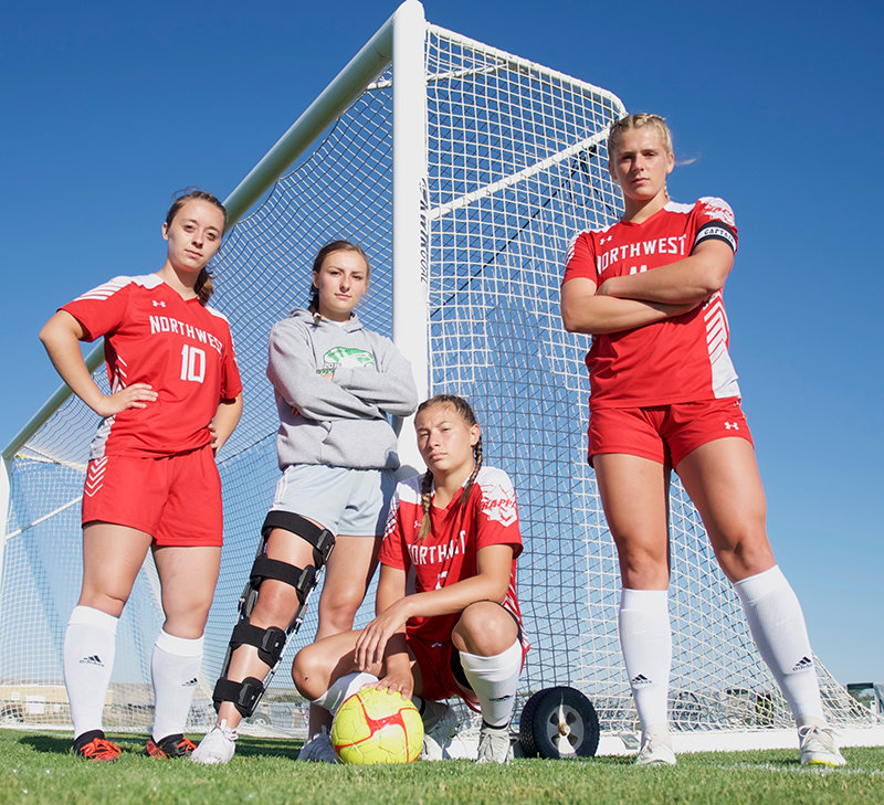 Four former Cody Fillies — Rebecca Brantz, Jules Novakovich, Alexa Prosceno and Genevieve Sauers — have traded in Cody Blue for Trapper red as members of the NWC women's soccer team. The Lady Trappers are off to a 2-3 start this season.