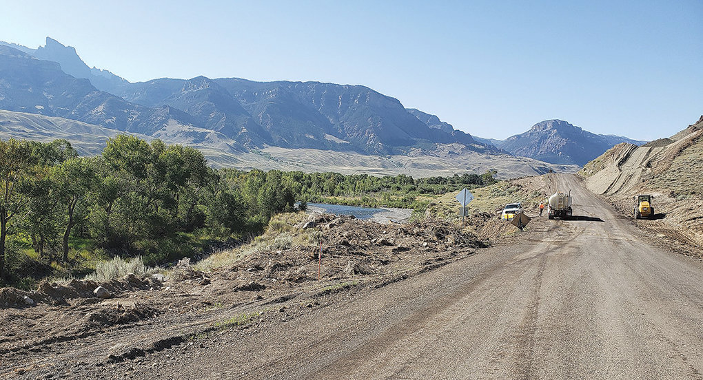 Crews work on the Southfork Road this summer. The $14.4 million, 15-mile project is nearing completion. 'When the project is complete by the end of this year we hope you will agree that this short term inconvenience is worth it,' the Park County Public Works Department posted on Facebook Sunday.