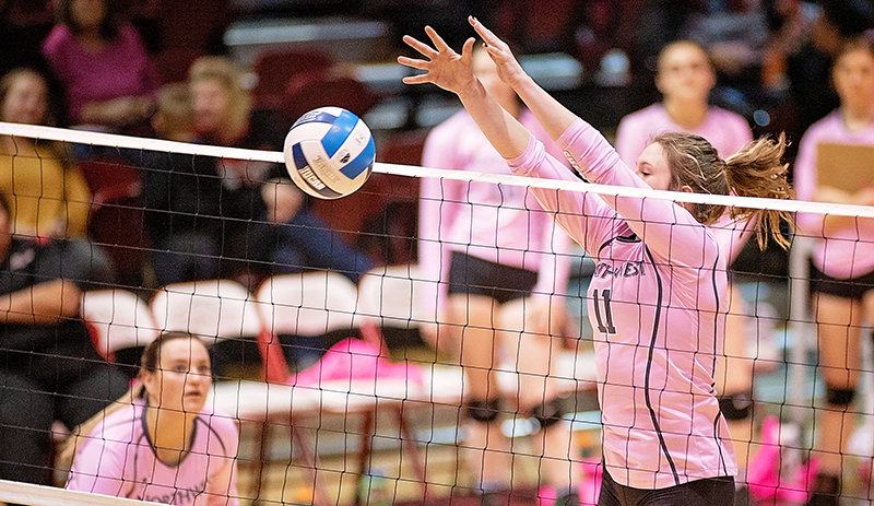 NWC middle blocker Mollee Krum blocks a shot against Sheridan on Oct. 17 at Cabre Gym. The Lady Trappers won the contest in straight sets, 3-0.