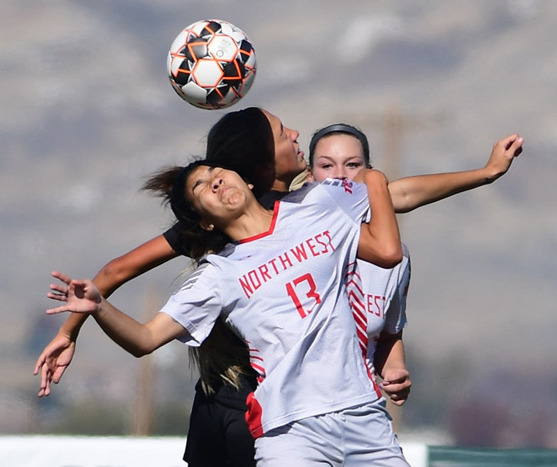 NWC freshman Ana Beatriz Santos wins a header against an opponent earlier this season at Trapper Field. Santos scored two goals and assisted on another during the Lady Trappers' season-ending win at Central Wyoming, a 4-3 overtime thriller.