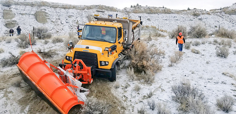 This WYDOT plow truck was hit in early March by an oilfield truck on Wyo. Highway 120 near Grass Creek (between Thermopolis and Meeteetse). Drivers are reminded to slow down on slick roads and avoid passing plow trucks.