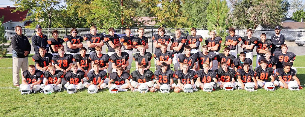 The Powell Middle School seventh-grade football won a conference championship this year. Pictured from left are, front row: Trey Scott, Luke Eastman, Brody Payne, Wyatt Nicholson, Kaiden Jones, Kale Acton, Trevion Solberg, Aidan Long, Reese Lowe, Sam Childers, Jordan Loera, Dexter Opps and Jermaine Broussard; middle row: Keona Wisniewski, Mitchell Wainscott, Victor Torres, Tristin Dicks, Denton Wainscott, McKale Foley, Jacob Eaton, Allen Crawford, Colton Preator, Juan Torres, Chase Visocky, Sam Lind and Bryant Thomas; back row: Coach Stan Hedges, Coach Nick Fulton, Toby Sessions, Levi Murray, Doug Bettger, Tucker Oliver, Cody Seifert, Dawson Griffin, Dusty Carter, Trevon Abraham, Zane Graft, Evan Whitlock, Alex Jordan, Kash Brazelton, Patrick Haney and Coach Juston Carter.