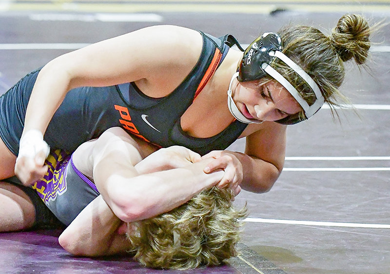 Emma Karhu dominates Johnathan Kerr of Laurel, blanking the Locomotive 120-pounder 8-0 behind a takedown and a pair of 3-point near-falls Tuesday in Laurel. Karhu was 2-0 on the night and Powell took the dual 48-21.
