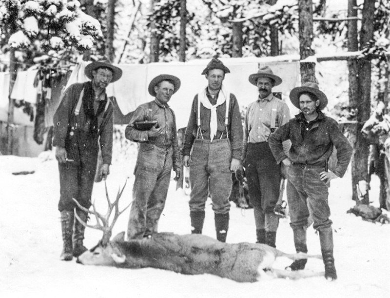 This photo from a 1914 Majo Ranch hunt in the Thorofare shows (from left): Carl Johansson (wrangler), Ed 'Phonograph' Jones (camp cook), Charles Foster (hunter from New York), Carl Hammitt (game warden) and Joe Jones (hunting guide). A Jan. 30 program at the Powell Library explores early hunting in Park County.