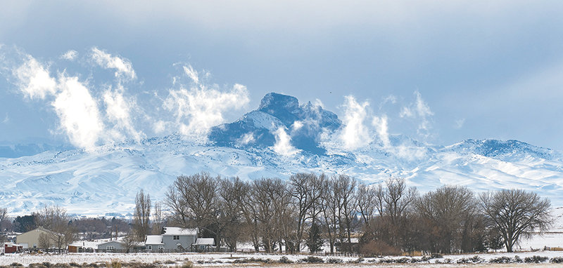 Heart Mountain, as seen from east of Powell, looms large during a cold February day. The Heart Mountain Ranch Preserve has announced set seasons to take some of the guesswork out of visiting the iconic property.