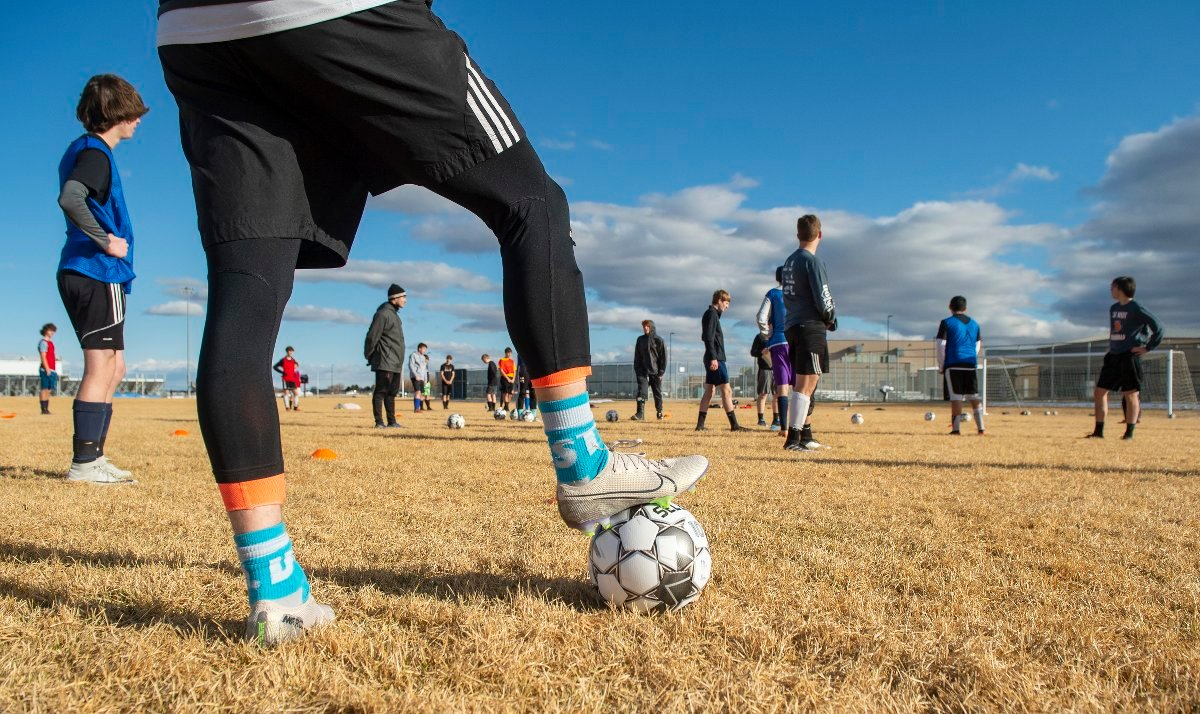 Members of the Powell High School boys' soccer team practice on Thursday afternoon. While PHS teams are continuing to practice, there will be no competitions until at least the week of March 29, the WHSAA announced Friday.