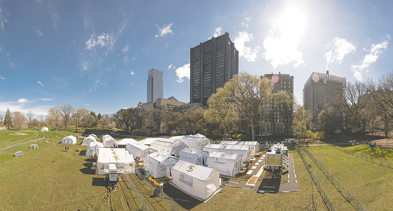 The Christian nonprofit Samaritan's Purse has set up a 68-bed field hospital to provide some relief to New York City's swamped healthcare system.
