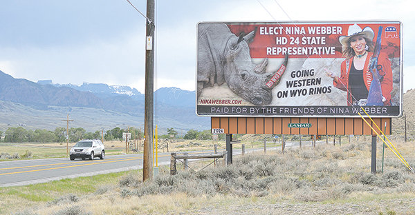A billboard near the Buffalo Bill Reservoir promises for Nina Webber, a Republican challenging state Rep. Sandy Newsome in House District 24, indicates that she'll oppose Wyoming RINOs — 'Republicans in Name Only.' Newsome is also being challenged by former state Rep. Scott Court, a Cody Republican who held the seat before her. It's one of several contested races that will appear on the primary ballot.