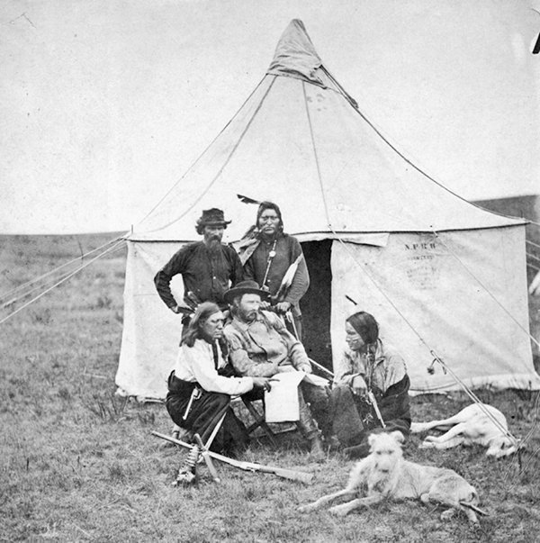 George Armstrong Custer (seated) is pictured on the 1874 Black Hills Expedition with a deerhound and sleeping greyhound.