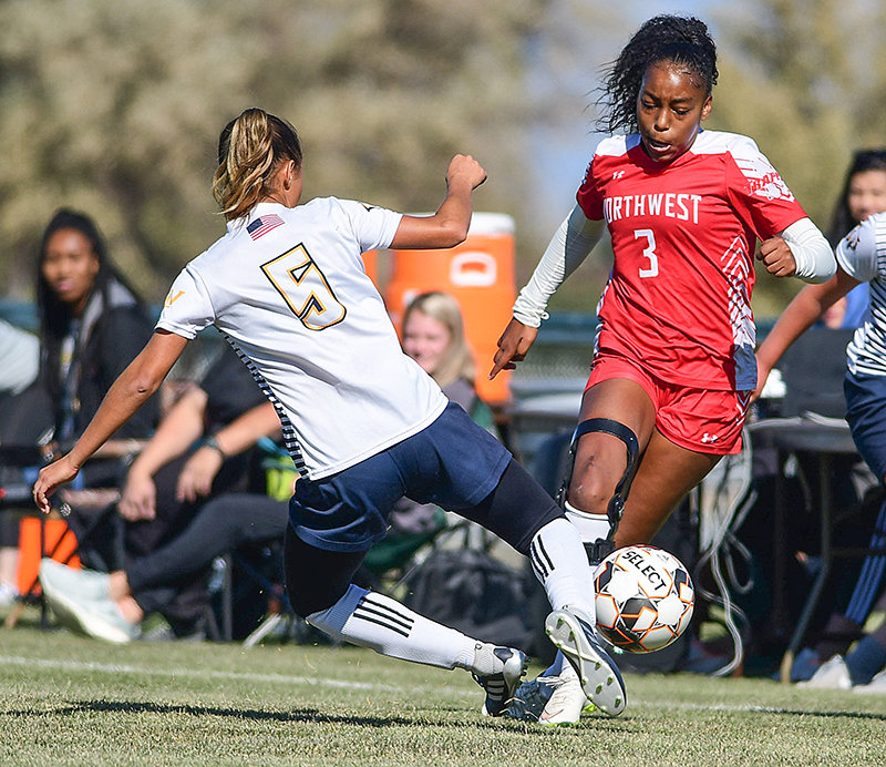 Northwest College's Sapirah Broussard works the ball upfield during a game against Western Nebraska last year. The college's proposed budget for the 2020-21 academic year includes funding for women's soccer and other Trapper programs.