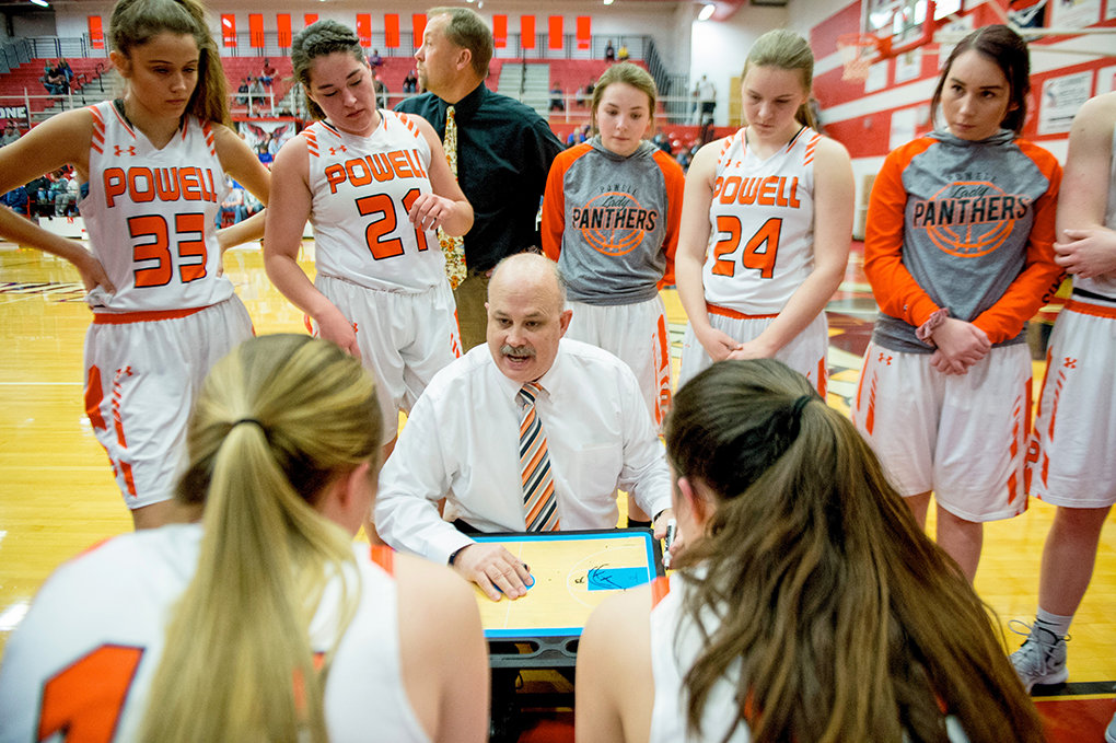 Longtime Powell High School coach Scott McKenzie — seen here leading the Panther girls' basketball team at last year's state tournament — has been named as a 2020 inductee to the Wyoming Coaches Association Hall of Fame. McKenzie was set to be formally inducted into the hall at a banquet this month, but that's been pushed back to 2021 due to the pandemic.