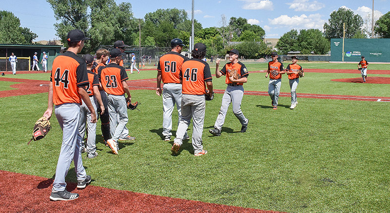 Members of the Pioneers B squad celebrate after defeating Evanston 4-2 on Tuesday. They avoided elimination and played Casper on Wednesday.