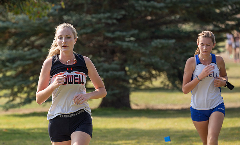 Senior Hailee Hyde competes in the Fox and Hounds meet in Cody on Friday. She finished fourth of Powell's girls' runners in the event.