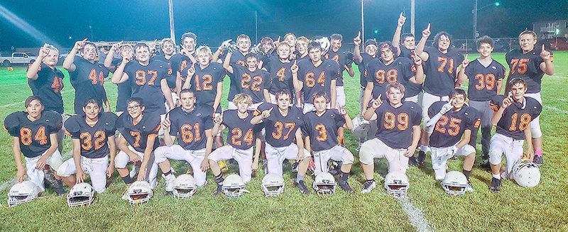 Members of Powell's eighth-grade football team pose after clinching the conference championship. The Cubs never allowed an opponent to score double digits. Back row, from left: Trevon Abraham, Dusty Carter, Colin Wilson, Denton Wainscott, Dawson Griffin, Zane Graft, Brenton Henke, Cody Siefert, Kaiden Jones, Kash Brazelton, McKale Foley, Doug Bettger, Evan Whitlock, Alan Crawford, Alex Jordan, Keona Wisniewski, Zain Younas, Tucker Oliver, Levi Murray. Front row, from left: Juan Torres, Jason Medina, Jordan Loera, Patrick Haney, Chevy Hill, Samuel Childers, Wyatt Nicholson, Michael Wainscott, Trevion Solberg, Jackson Hill.
