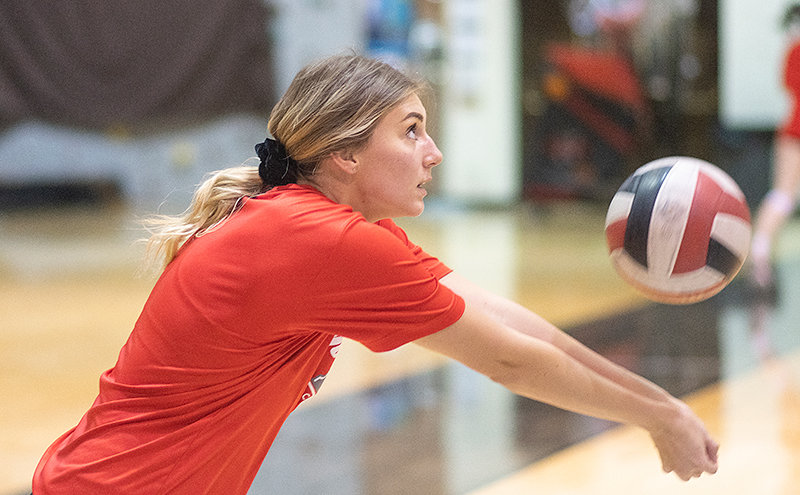 Freshman Sayler Larson goes for a dig during Northwest College's Oct. 13 practice. NWC has won each of its four scrimmages this fall.