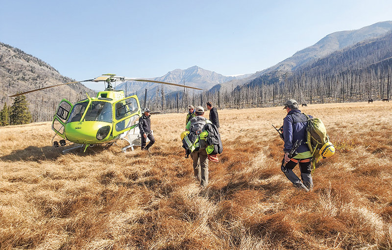 Park County Search and Rescue volunteers prepare to get a lift home after hiking 2 miles from the scene of a rescue in the South Fork area earlier this month. A team of six rescued an Iowa man after he broke his leg in a fall during an elk hunt.