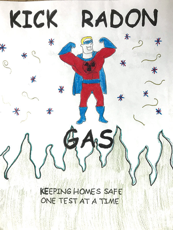 Emma Beasley created this winning poster among seventh- through ninth-graders in last year's radon poster contest. The Wyoming Department of Health is inviting students to enter posters and videos for this year's contest. The deadline is Nov. 6, and cash prizes are available.
