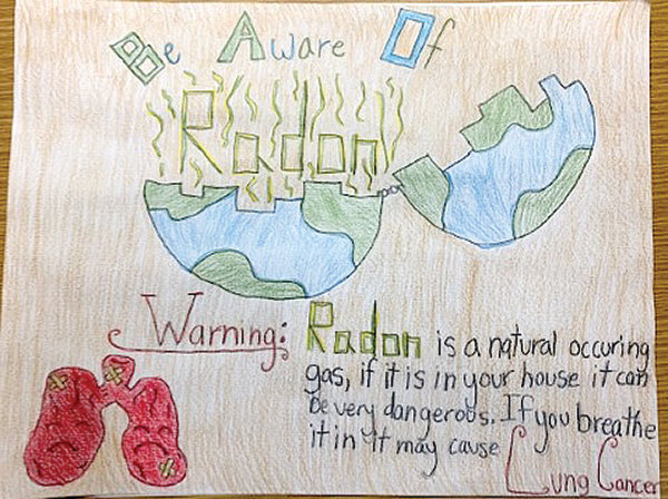Faith Hinton won first place in the grades three through six category in last year's radon poster contest.