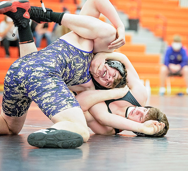 PHS wrestler Stetson Davis competes against Kendall McKee of Campbell County Friday at the Powell Dual Invite. The Panthers won one of six team duals at the Friday-Saturday event.