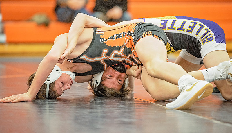 Hadley Mehling competes in an earlier season dual against Gillette. PHS assistant wrestling coach Cody Kalberer pointed to Mehling, along with Caleb Cruz, as standouts at Friday and Saturday's Battle of the Bighorns.